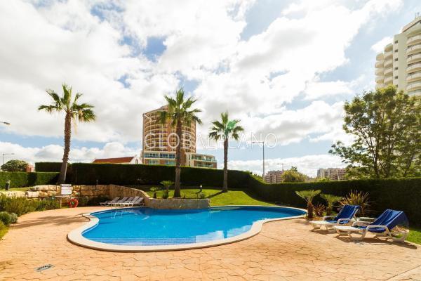 Apartment T1 sea view Praia da Rocha Portimão - garage, sea view, balcony, garden, condominium, swimming pool