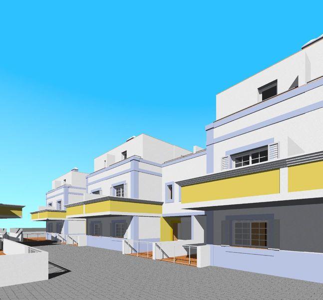Moradia em banda V3+1 Buraco Vila Nova de Cacela Vila Real de Santo António - condomínio privado, cozinha equipada, varandas, ar condicionado, painel solar, sótão