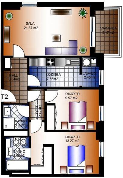 Apartamento T2 novo em construção Alta de Lisboa Lumiar - cozinha equipada, arrecadação, parqueamento