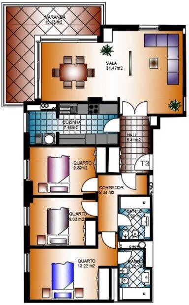 Apartamento T3 novo em construção Alta de Lisboa Lumiar - cozinha equipada, arrecadação, parqueamento
