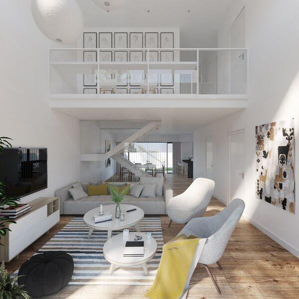 жилой дом V3+1 новые в ряд Quelfes Olhão - система кондиционирования, бассейн, солнечные панели, гараж