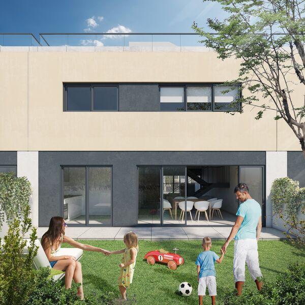 Moradia em banda V3 Quelfes Olhão - piscina, ar condicionado, garagem, painéis solares
