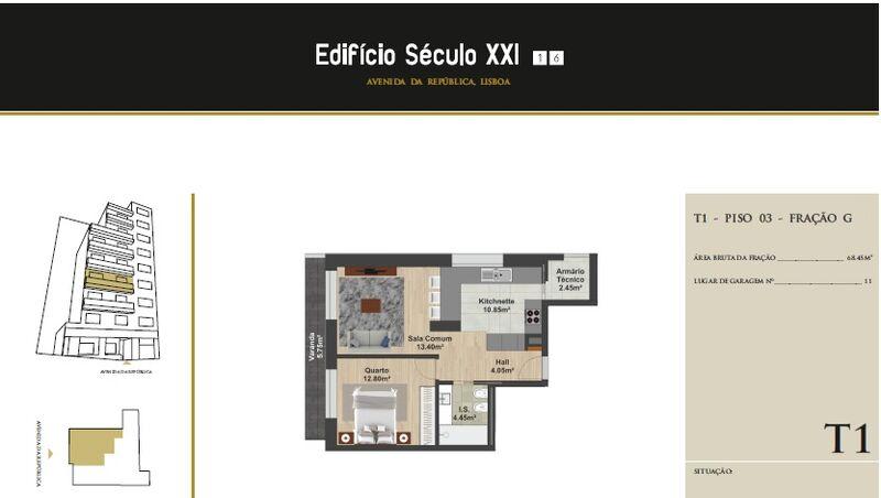 Apartamento Moderno em construção T1 Av. da República Nossa Senhora de Fátima Lisboa - isolamento térmico, varandas, terraços, ar condicionado