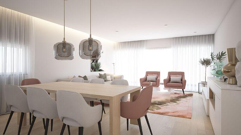 Apartamento T3 novo em construção Olhos de Água Albufeira - arrecadação, garagem, vista mar, jardins, equipado, piscina, terraço, ar condicionado, cozinha equipada, varandas